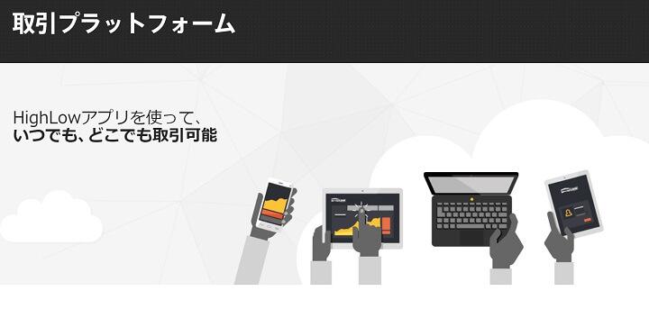 ハイローオーストラリア公式サイトの取引プラットフォーム画面
